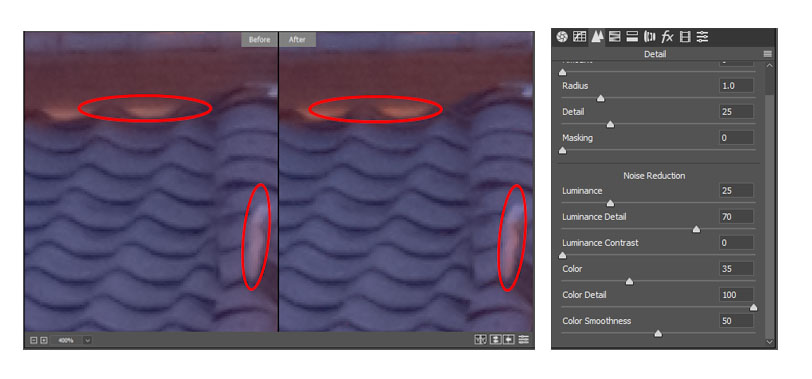Color Detail Slider Comparison