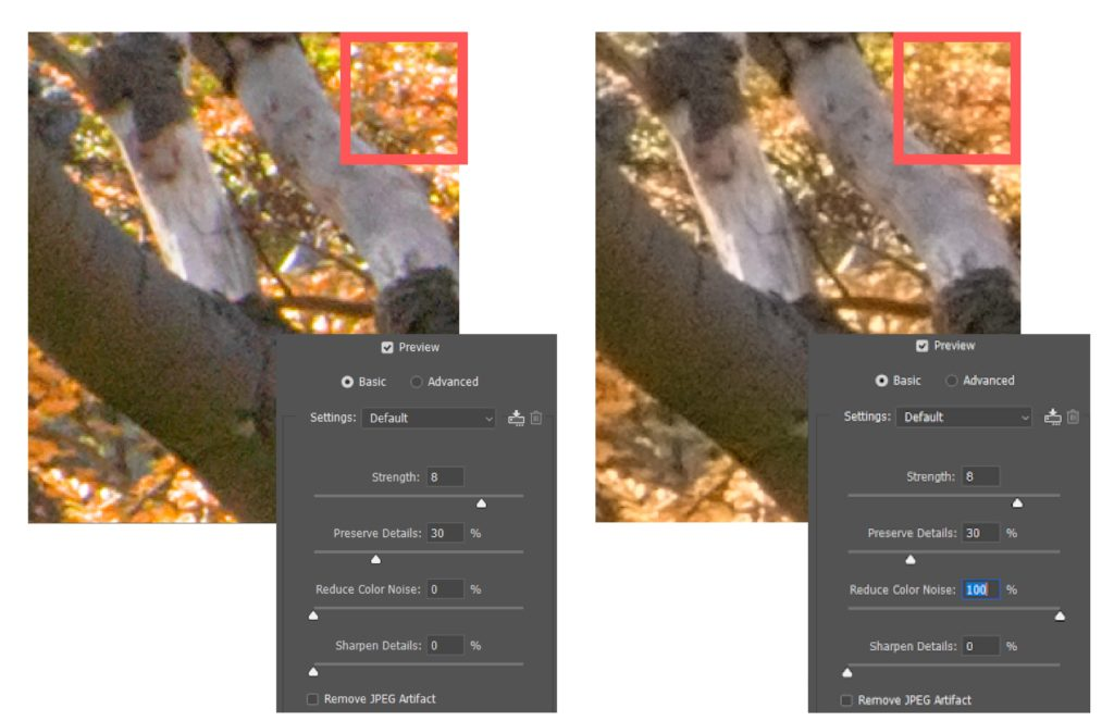 Reduce noise filter - Color Noise Slider