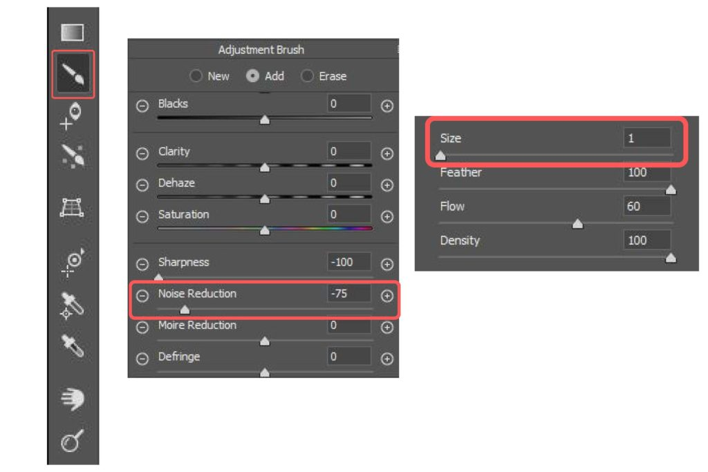 Adjustment Brush Sliders - Noise Reduction