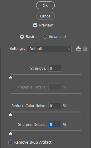 Reduce Noise Filter - Basic Panel