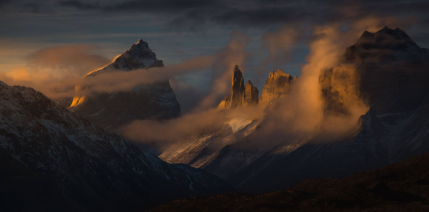 Clouds covering mountain peaks, Patagonia