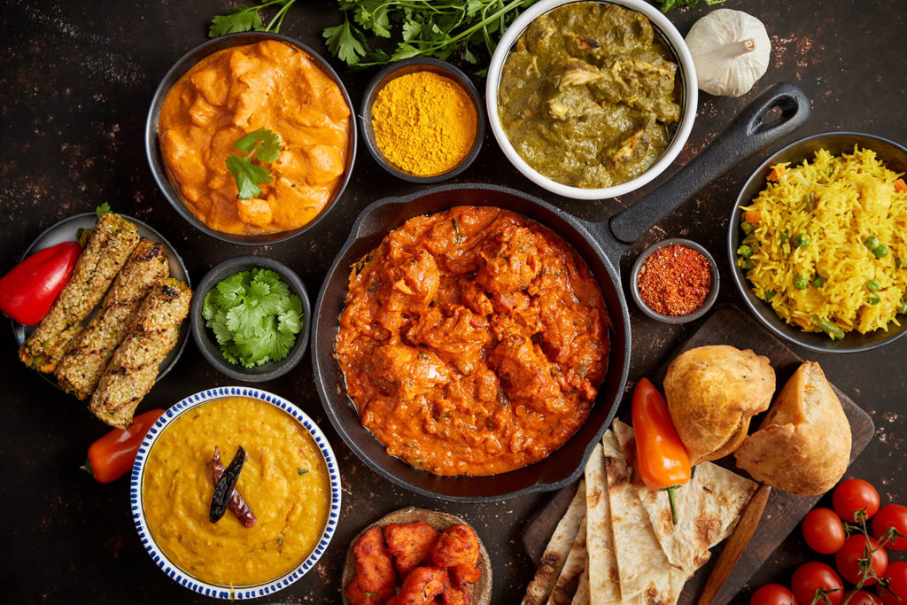 Assortment of various kinds of Indian cousine