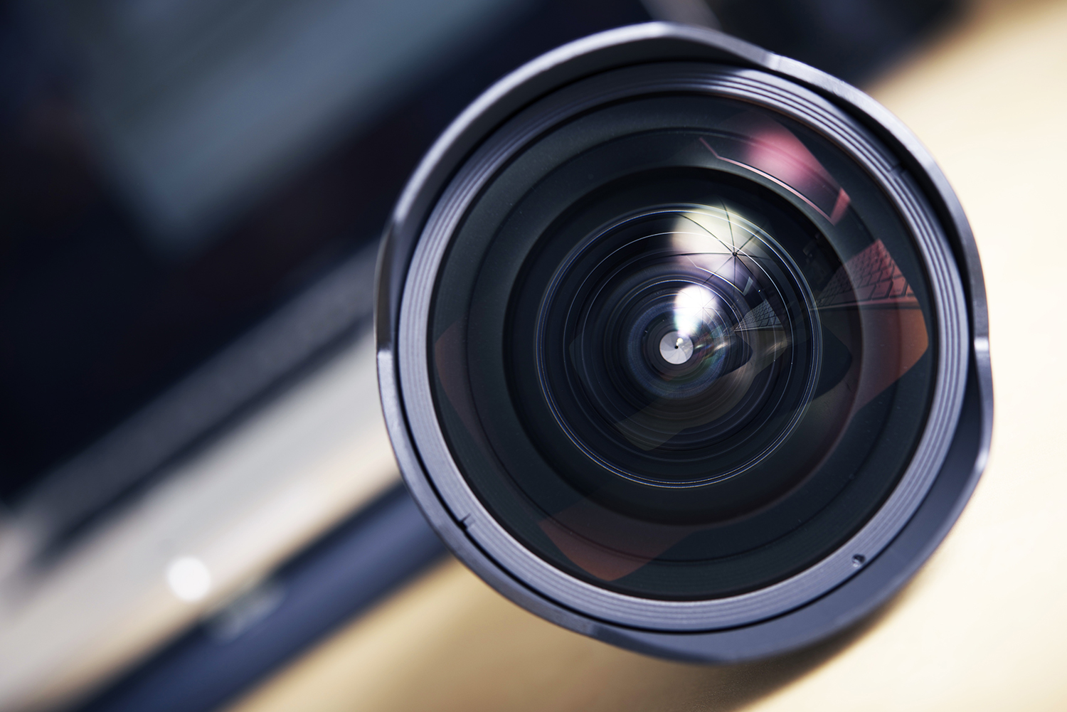 Wide Angle Pro Photography Lens Closeup. Front Glass.