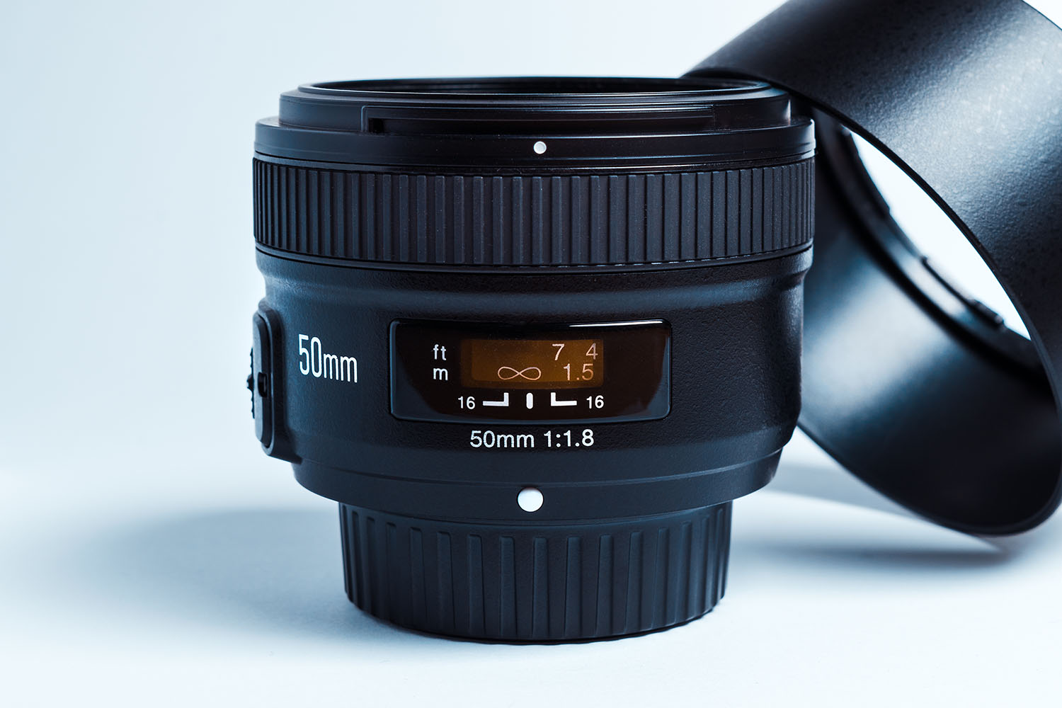 50mm lens on a white background