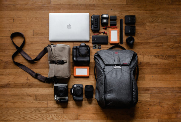 Camera bag and gear - top view