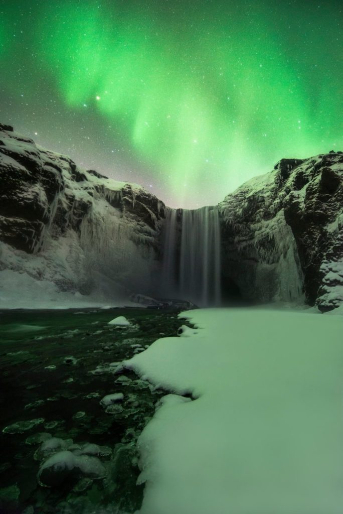 Northern Lights and Waterfall