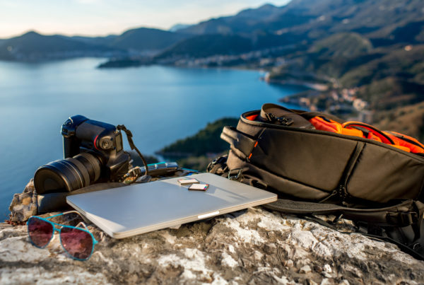 Laptop over mountains