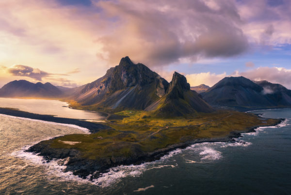 Aerial View of the Eystrahorn with Krossanesfjall Mountain in Iceland at sunset