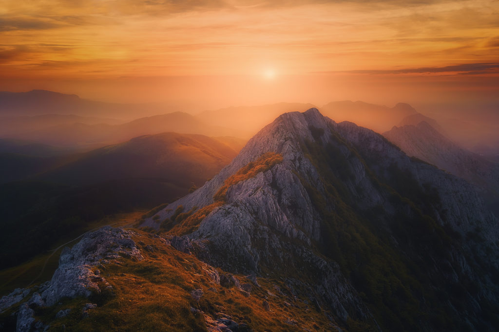 Sunset mountain at the top of mountain